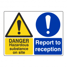 Hazardous Substance / Report To Reception Sign (Large Landscape)