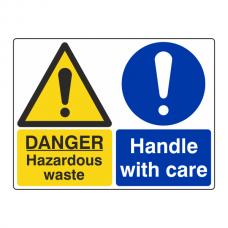 Hazardous Waste / Handle With Care Sign (Large Landscape)