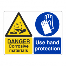 Corrosive Materials / Use Hand Protection Sign (Large Landscape)