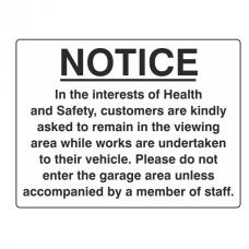 In The Interests Of Health & Safety Garage Sign (Large Landscape)
