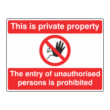 Private Property / Unauthorised Persons Prohibited Sign (Landscape)