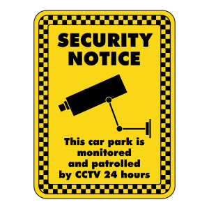 Car Park Monitored And Patrolled By CCTV Security Sign