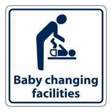 Baby Changing Facilities Sign (Square with Text)