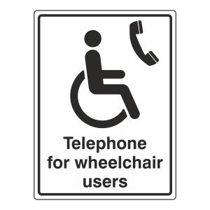Telephone For Wheelchair Users Sign