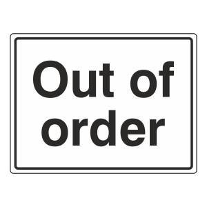 Out Of Order General Sign (Large Landscape)