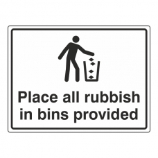 Place All Rubbish In Bins Provided General Sign (Large Landscape)