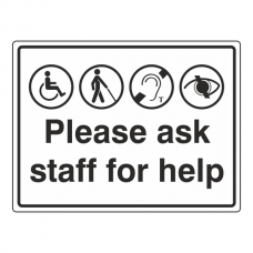 Please Ask Staff For Help Sign (Large Landscape)