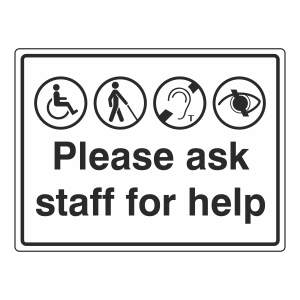 Please Ask Staff For Help Sign (Large Landscape)