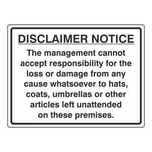 Disclaimer Notice Sign (Large Landscape)