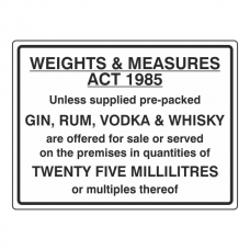 Weights & Measures Act 1985 Sign (Large Landscape)