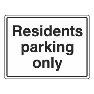 Residents Parking Only Sign (Large Landscape)
