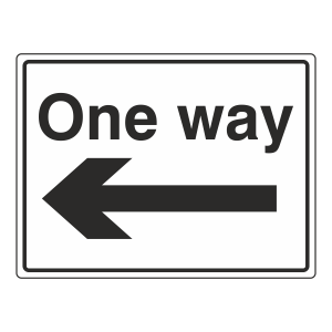 One Way Arrow Left Sign (Large Landscape)