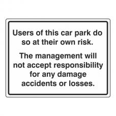 Car Park Disclaimer Sign (Large Landscape)
