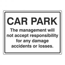 Car Park Disclaimer General Sign (Large Landscape)