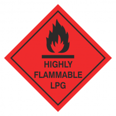 Highly Flammable LPG Hazard Warning Label