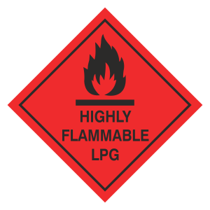 Highly Flammable LPG Hazard Warning Label