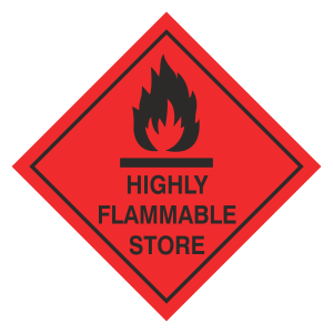 Highly Flammable Store Hazard Warning Label
