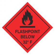 Flashpoint Below 32F Hazard Warning Label