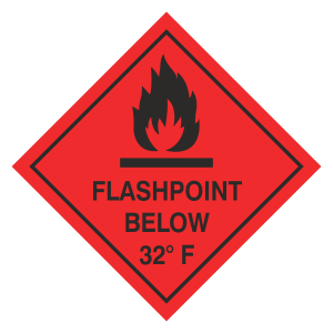 Flashpoint Below 32F Hazard Warning Label