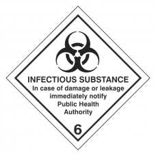 Infectious Substance In Case of Damage Hazard Warning Label