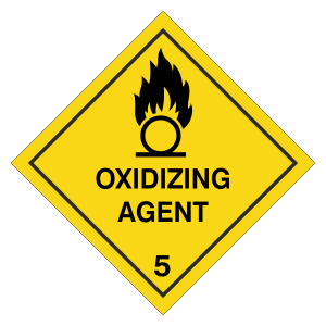 Oxidizing Agent Hazard Warning Label