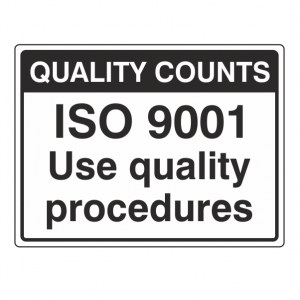 ISO 9001 Quality Procedures Sign (Large Landscape)
