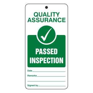 Quality Assurance - Passed Inspection Tie Tag