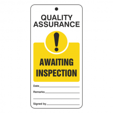 Quality Assurance - Awaiting Inspection Tie Tag