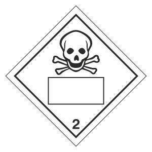 Toxic 2 UN Substance Hazard Numbering Label