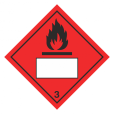 Flammable 3 UN Substance Hazard Numbering Label