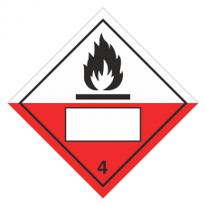 Spontaneously Combustible 4 UN Substance Hazard Numbering Label