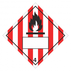 Flammable Solid 4 UN Substance Hazard Numbering Label