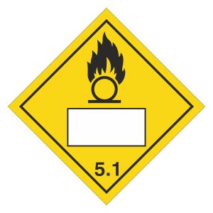 Oxidizer 5.1 UN Substance Hazard Numbering Label