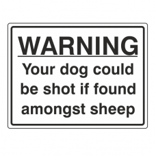 Warning Your Dog Could Be Shot Sign (Large Landscape)