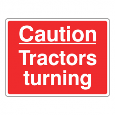 Caution Tractors Turning Sign (Large Landscape)
