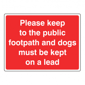 Keep To Footpath Dogs On Lead Farm Sign (Large Landscape)
