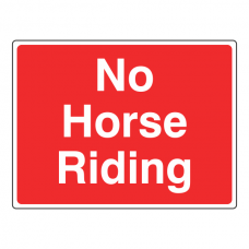 No Horse Riding Sign (Large Landscape)