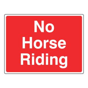 No Horse Riding Sign (Large Landscape)