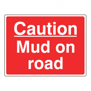 Caution Mud On Road Farm Sign (Large Landscape)