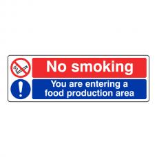 No Smoking / Food Production Area Sign (Landscape)
