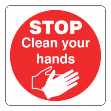 STOP Clean Your Hands Sign (Square)