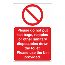 Do Not Put Items Down The Toilet Sign