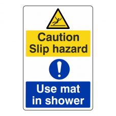 Slip Hazard / Use Mat In Shower Sign