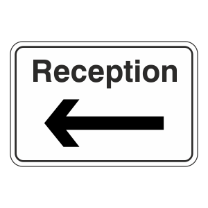Reception Arrow Left Sign (Large Landscape)