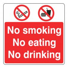 No Smoking / No Eating / No Drinking Sign (Large Landscape)