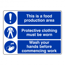 Food Production Area / Protective Clothing / Wash Hands Sign (Large Landscape)
