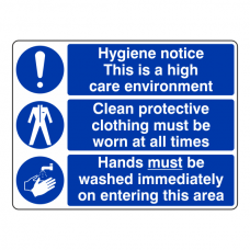 Hygiene Notice / Protective Clothing / Hands Washed Sign (Large Landscape)