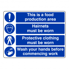 This Is A Food Production Area / Hairnets / Protective Clothing / Wash Hands Sign (Large Landscape)