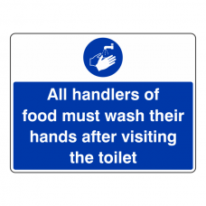 Handlers Of Food Must Wash Hands After Visiting Toilet  Sign (Large Landscape)