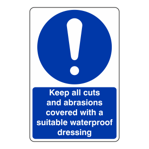 Keep Cuts And Abrasions Covered Sign